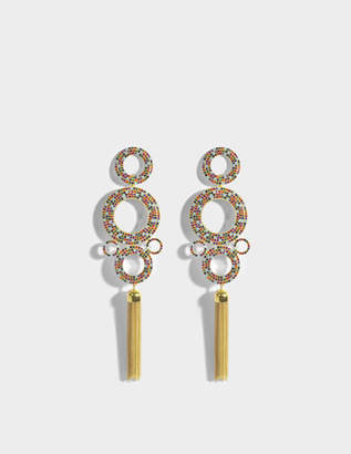 Joanna Laura Constantine Grommets Statement Rainbow Earrings in Gold-Plated Brass with Multicolored Stones