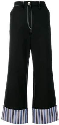 Minki striped cuff wide-leg trousers