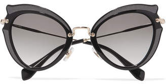Miu Miu Embellished Cat-eye Acetate And Gold-tone Sunglasses