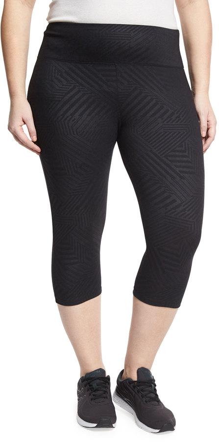 The Balance Collection Plus Flat-Waist Capri Leggings, Black, Plus Size