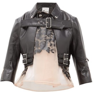 Noir Kei Ninomiya Organza Panel Cropped Faux Leather Jacket - Womens - Black Multi