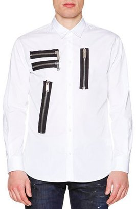 Dsquared2 Multi-Zipper Detail Long-Sleeve Shirt, White $570 thestylecure.com
