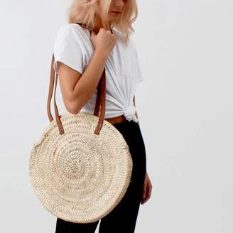 Bohemia Round Market Basket | Leather Handle Shopper | Sienna