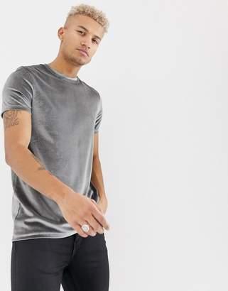 Asos DESIGN longline velour t-shirt in gray