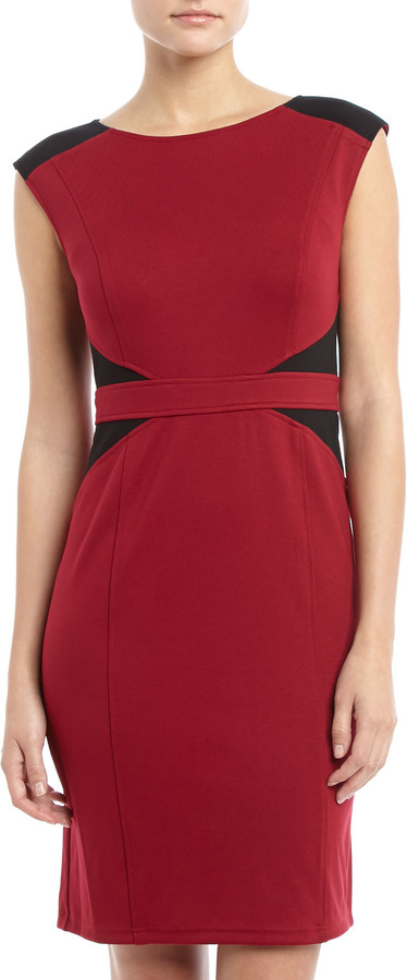 Neiman Marcus Two-Tone Band-Waist Dress, Black/Red