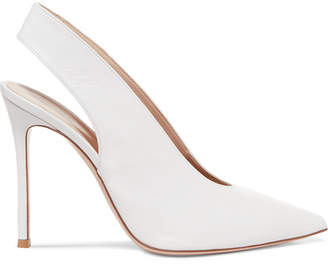 Gianvito Rossi 100 Leather Slingback Pumps - White