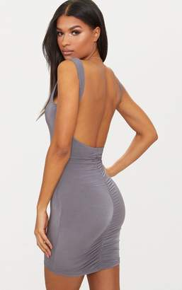 PrettyLittleThing White Slinky Ruched Back Bodycon Dress