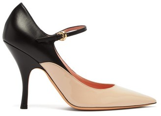 Rochas Panelled Leather Mary Jane Pumps - Womens - Black Pink