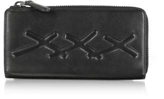 Ermenegildo Zegna Black Xxx Embossed Leather Continental Phone Wallet