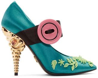 Prada Green Beaded Button Heels