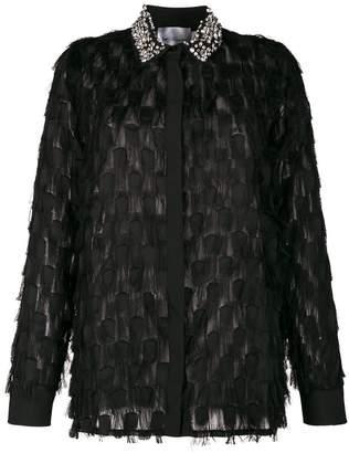 Blumarine be Crystal-embellished fringed shirt