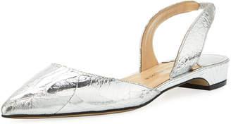 Paul Andrew Rhea Metallic Leather Slingback Flat