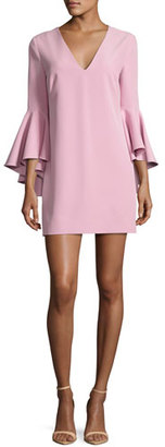 Milly Nicole Bell-Sleeve Italian Cady Minidress, Light Pink $380 thestylecure.com