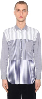 Comme des Garcons Striped Patchwork Cotton Poplin Shirt