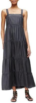 Eileen Fisher Silk Tiered Maxi Sundress, Graphite $248 thestylecure.com