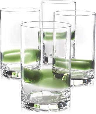 Hotel Collection Green Striped Set of 4 Tumbler Glasses, Created for Macy's