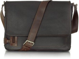 Chiarugi Black Leather Messenger Bag