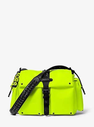 Michael Kors Olivia Large Studded Neon Satin Messenger Bag