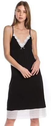 Melody Women Lace Trim Knit Full Slip Pajama Sleepwear (BLACK, MEDIUM)