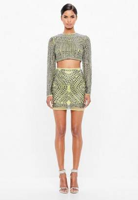 Missguided Lime Embellished Stud Mesh Mini Skirt