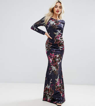 City Goddess Petite Long Sleeve Velvet Maxi Dress