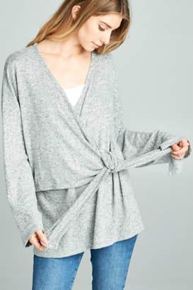 Paper Crane Wrap Front Sweater