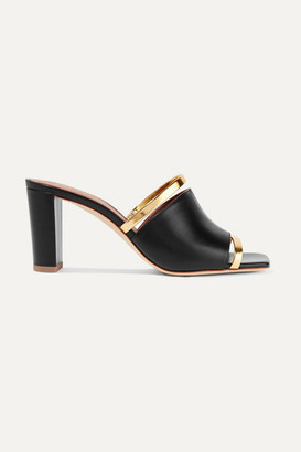 Malone Souliers Demi 70 Metallic-trimmed Leather Mules - Black