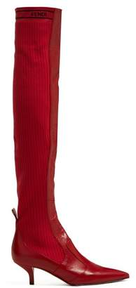 Fendi Rockoko Leather And Ribbed Knit Boots - Womens - Red
