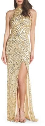 Mac Duggal Beaded A-Line Halter Gown