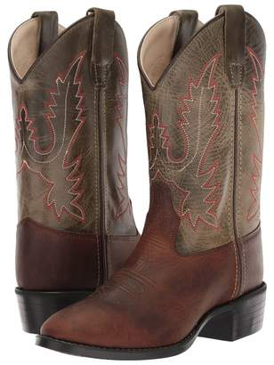 Old West Kids Boots Olive R Toe Cowboy Boots