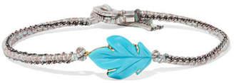 Brooke Gregson - Maya 18-karat Gold, Sterling Silver And Turquoise Bracelet