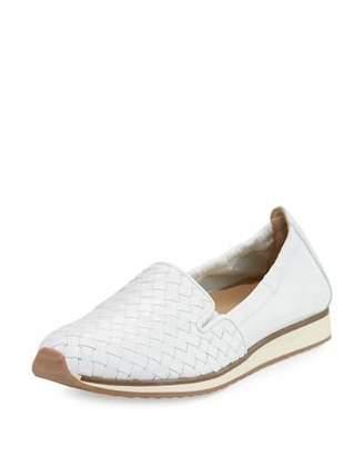 Sesto Meucci Caiden Woven Leather Slip-On Sneaker, White $400 thestylecure.com