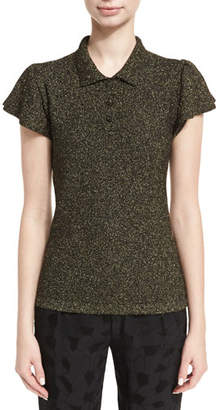 Co Lurex Cap-Sleeve Polo Shirt