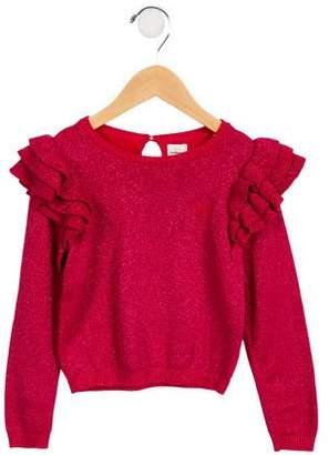 No Added Sugar Girls' Metallic Ruffle-Trimmed Sweater w/ Tags