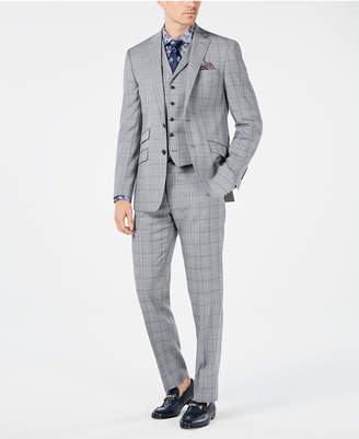 Tallia Men Slim-Fit Gray/Light Blue Plaid Vested Suit