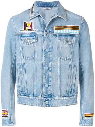 Valentino geometric embroidery denim jacket