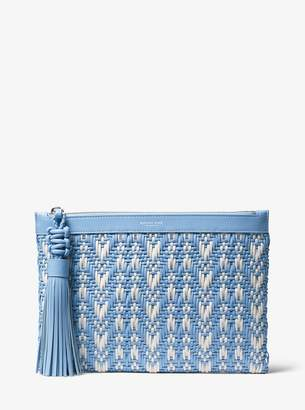 Michael Kors Loren Woven Leather Pouch