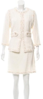 Chanel Tweed Braid-Trimmed Skirt Suit