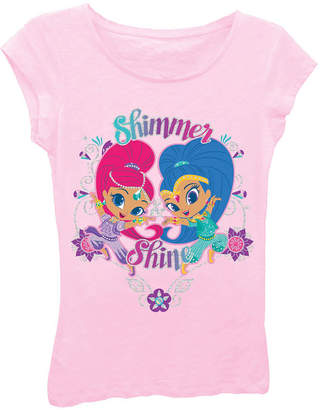 Asstd National Brand Shimmer and Shine Girls' Posing with Flowers Short Sleeve Graphic T-Shirt with Silver Glitter