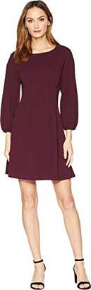 London Times Women's Long Sleeve Pleat Tucked Waist FIT and Flare Dress