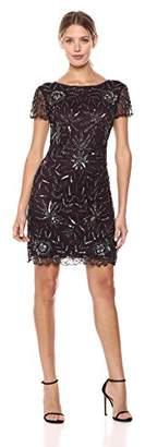 Pisarro Nights Women's Short Dress with Cap Sleeve and Vine Motif