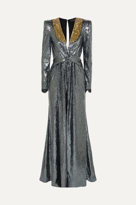 Dundas Embellished Sequined Crepe De Chine Gown - Gunmetal