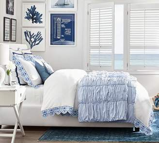 Pottery Barn Zoe Scallop Embroidered Duvet Cover