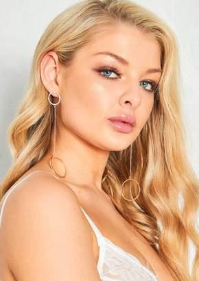 Missy Empire Missyempire Kendal Rose Gold Diamante Circle Drop Earrings