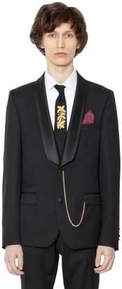 Satin Lapin Wool Serge Tuxedo Jacket