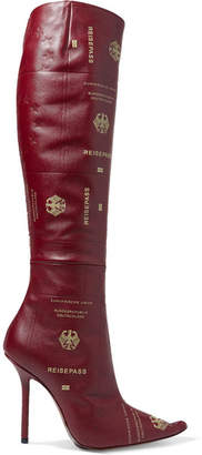 Vetements Passport Printed Textured-leather Knee Boots - Claret