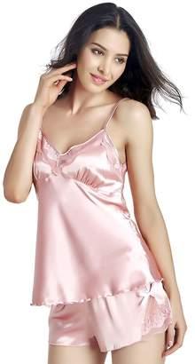 AICONL Women Summer Sleepwear Lace Satin 2 Piece Cami Short Pajama Set