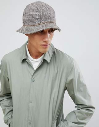 Asos DESIGN bucket hat with contrast check panelling