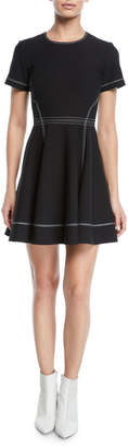 Cinq à Sept Bryce Short-Sleeve Fit-and-Flare Mini Dress