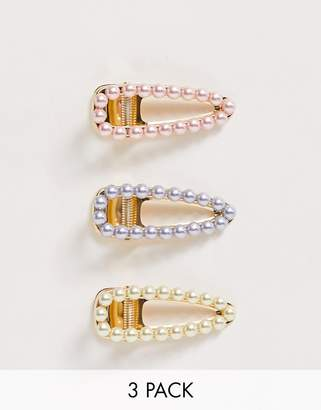 Asos Design DESIGN pack of 3 hair clips with pastel pearls in gold tone